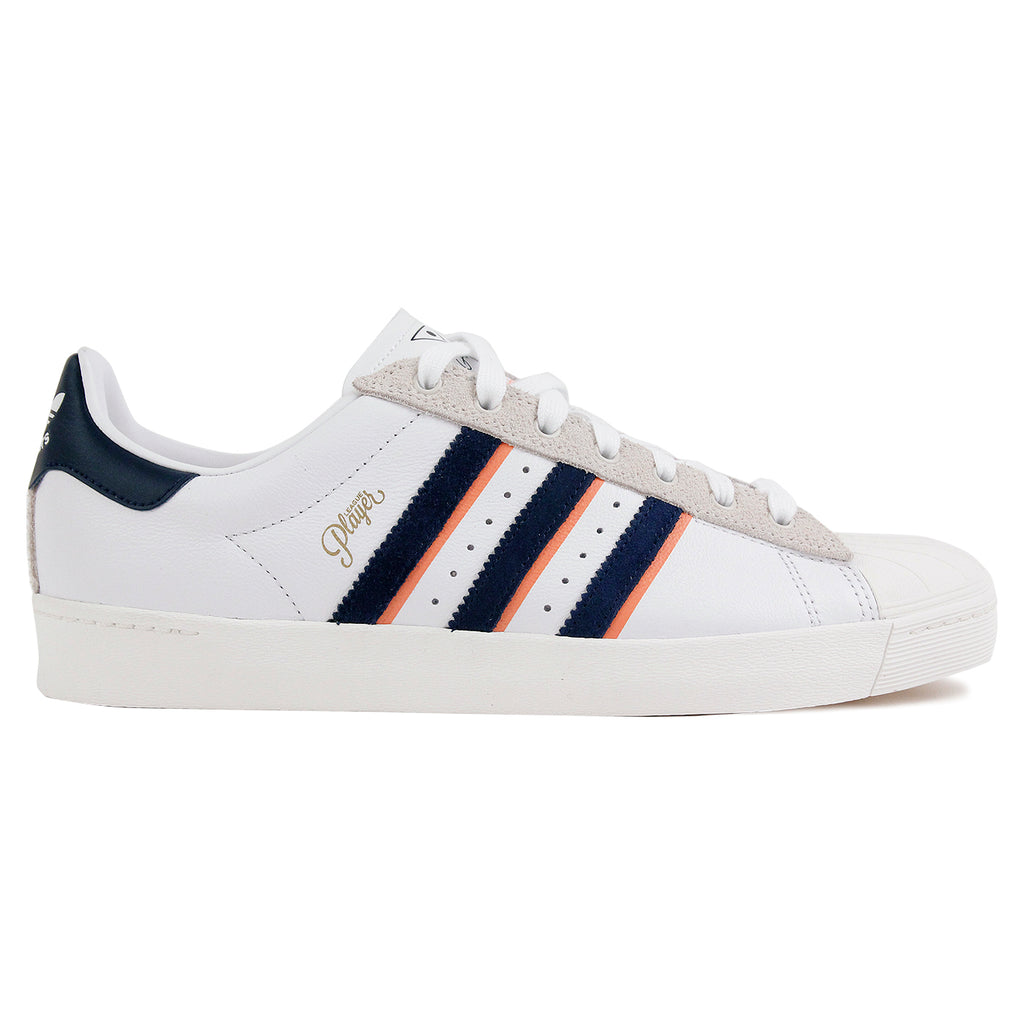 Adidas Skateboarding Superstar Vulc x Alltimers Shoes in FTW White / Collegiate Navy