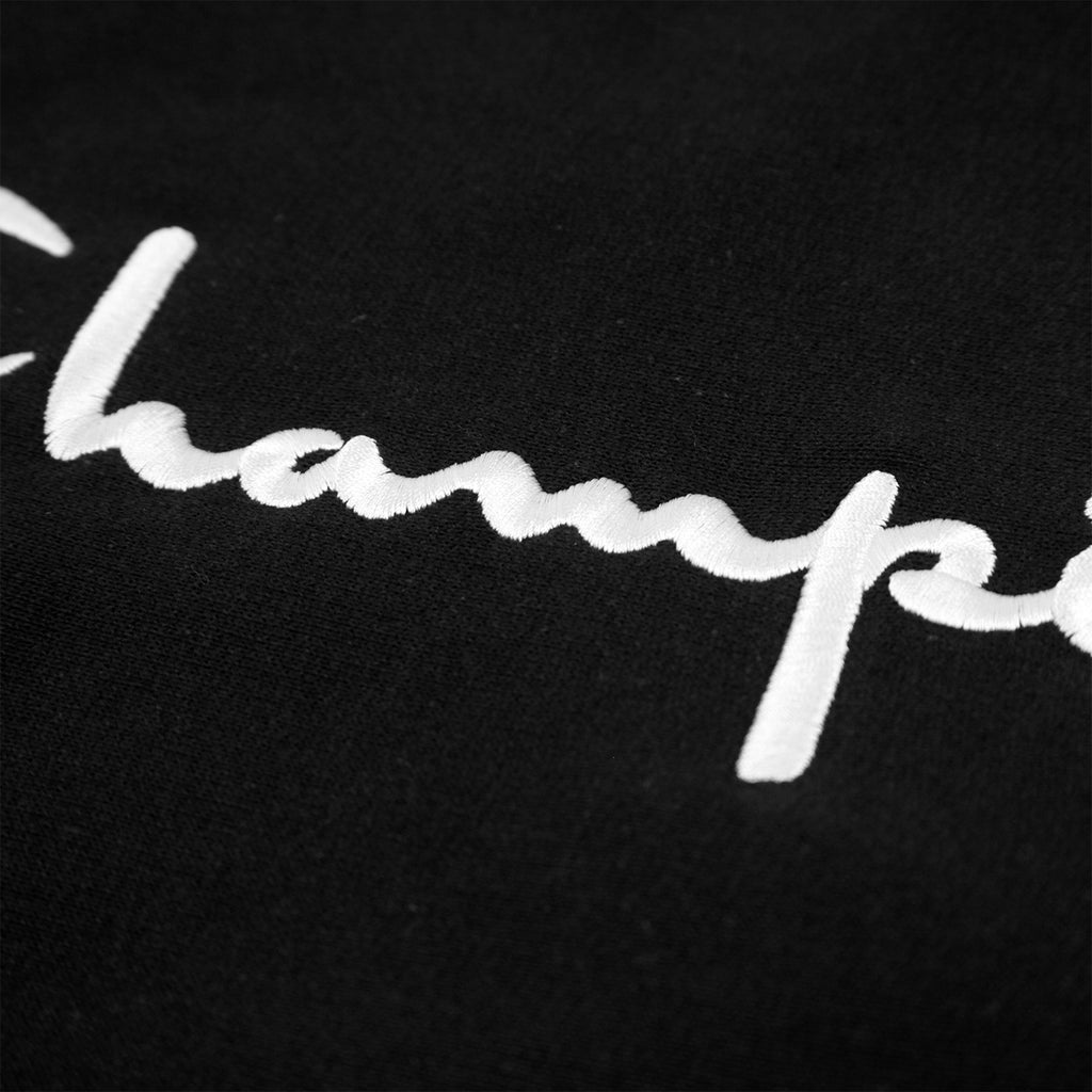 Champion Reverse Weave Script Logo Crew Sweatshirt in Black - Embroidery 2