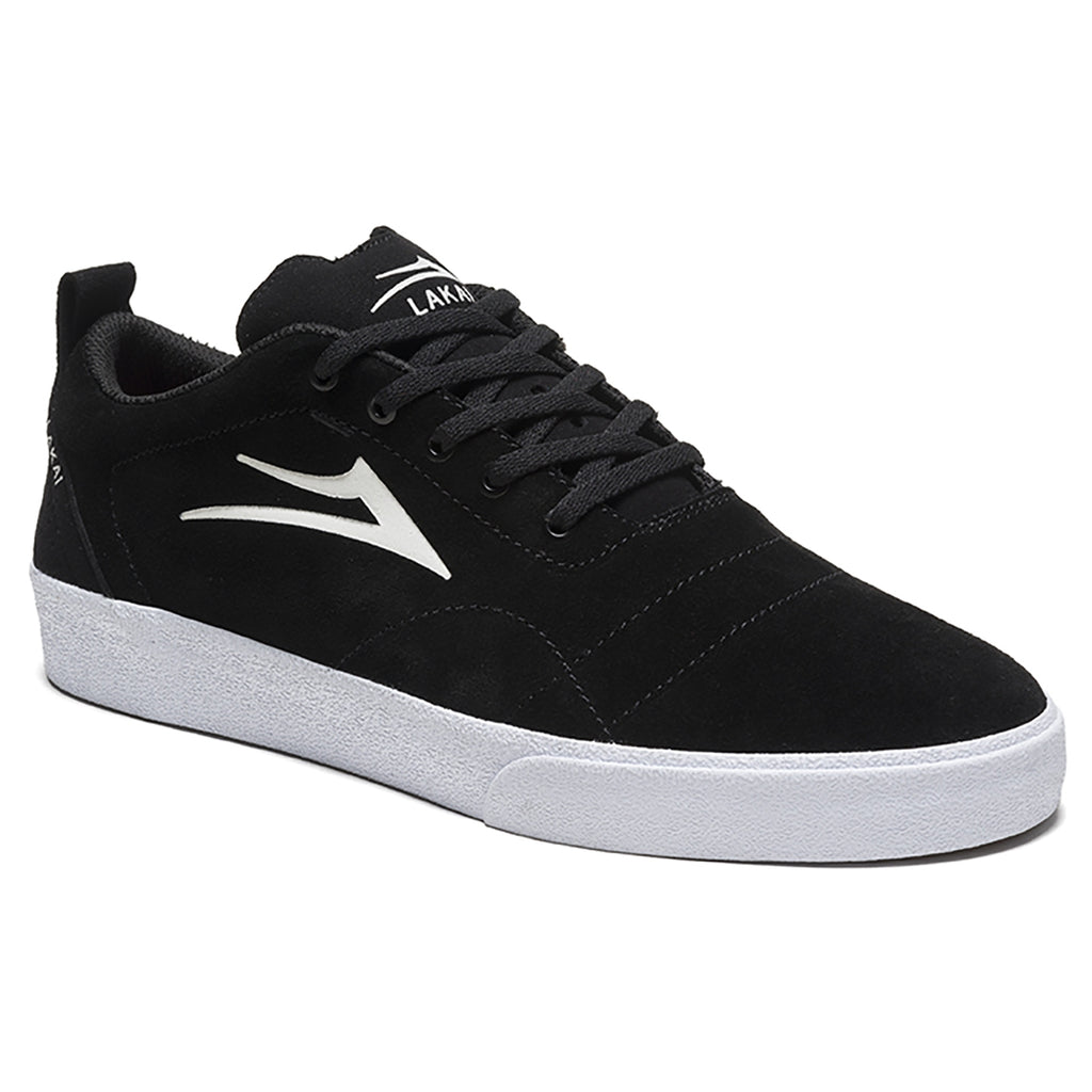 Lakai Bristol Skate Shoes in Black / White Suede - Detail