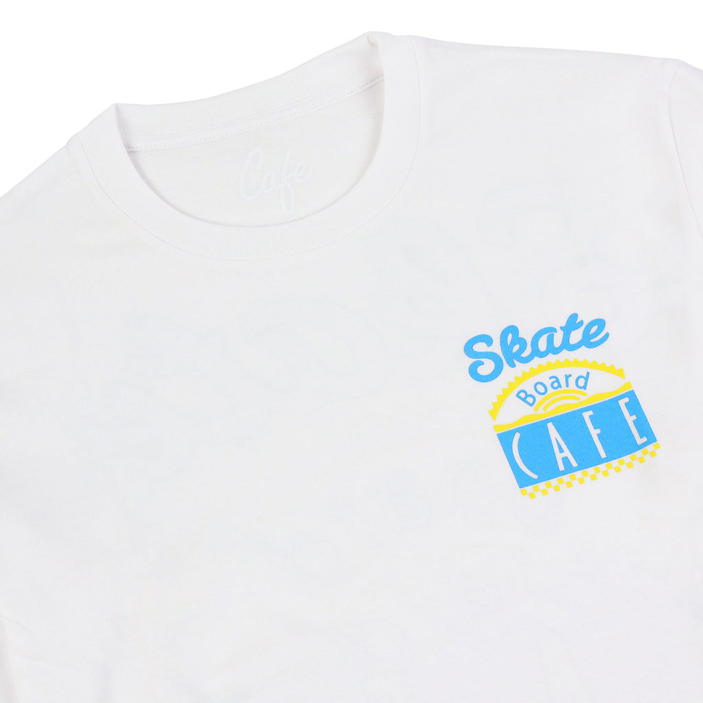 Skateboard Cafe Diner L/S T Shirt in White / Blue / Yellow - Detail