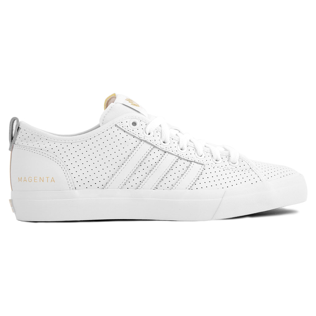 Adidas x Magenta Skateboards Matchcourt RX Shoes in White / Gold Metallic / Gum
