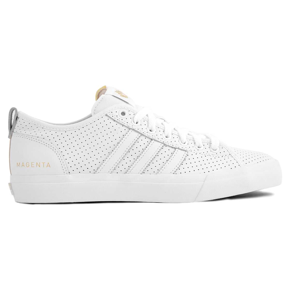 cheap for discount 63a62 7de03 Adidas x Magenta Skateboards Matchcourt RX Skate Shoes in White   Gold  Metallic   Gum by Adidas Skateboarding   Bored of Southsea