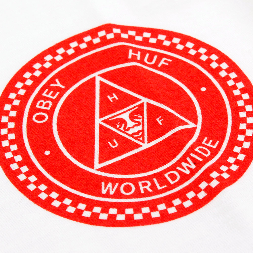 HUF x Obey Rat Race T Shirt in White - Print