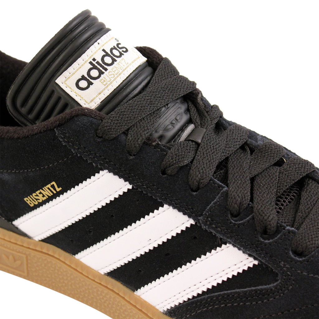 Adidas Busenitz Shoes in Black / Running White / Metallic Gold - Detail