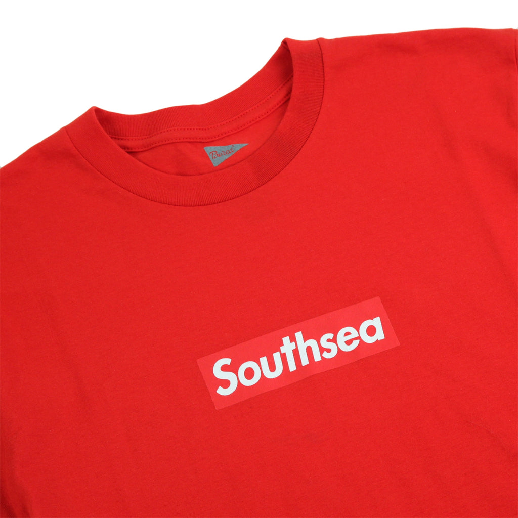 "Bored of Southsea ""Southsea"" T Shirt in Red / Red Box - Detail"