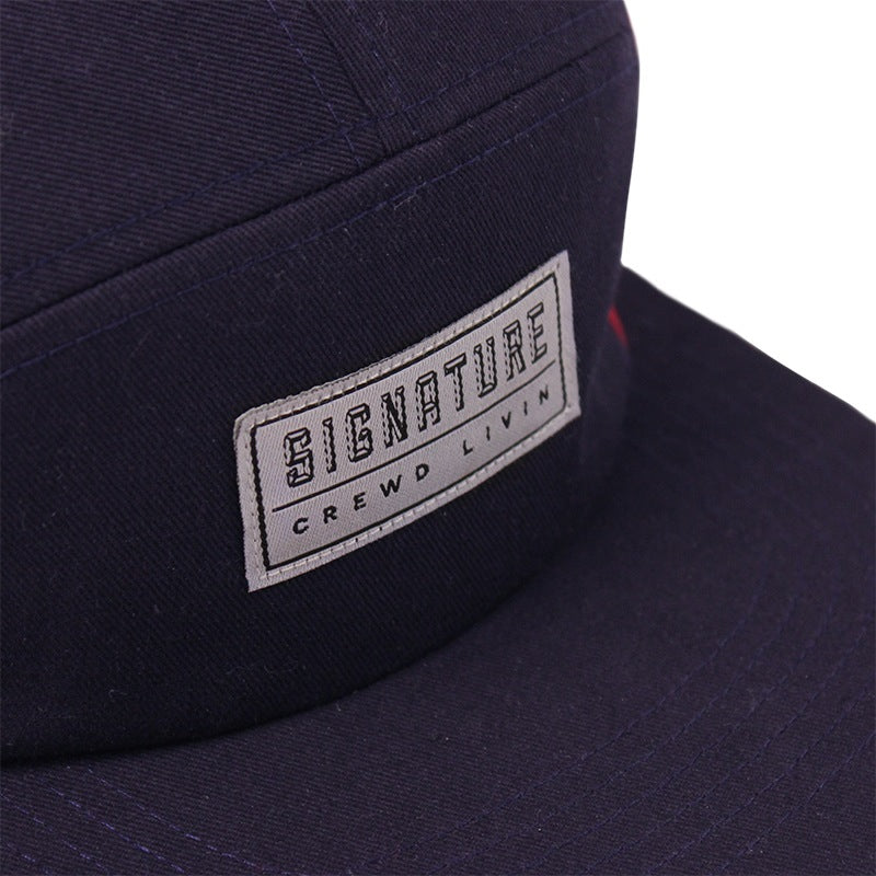 Signature Clothing Primitus 5 Panel Cap in Navy / Blood Red - Label