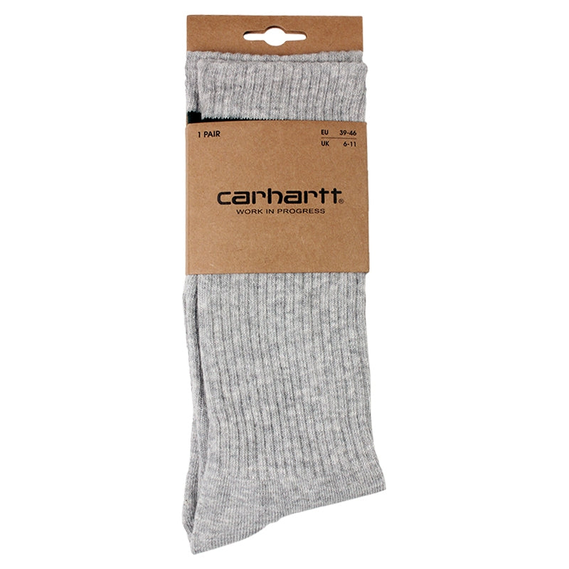 Carhartt WIP College Socks in Light Grey Heather / Bottle Green - Package
