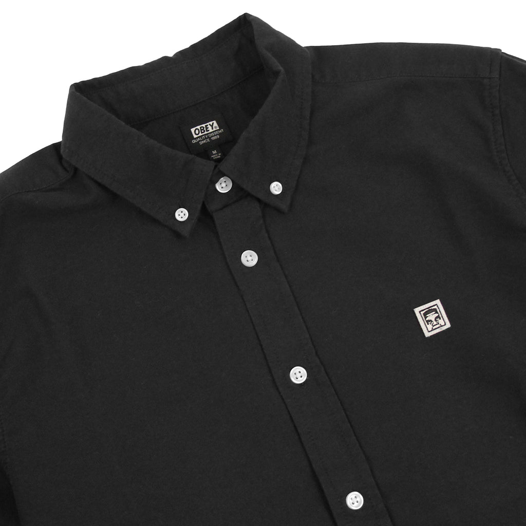 Obey Clothing Eighty Nine Woven Long Sleeve Shirt in Black - Detail