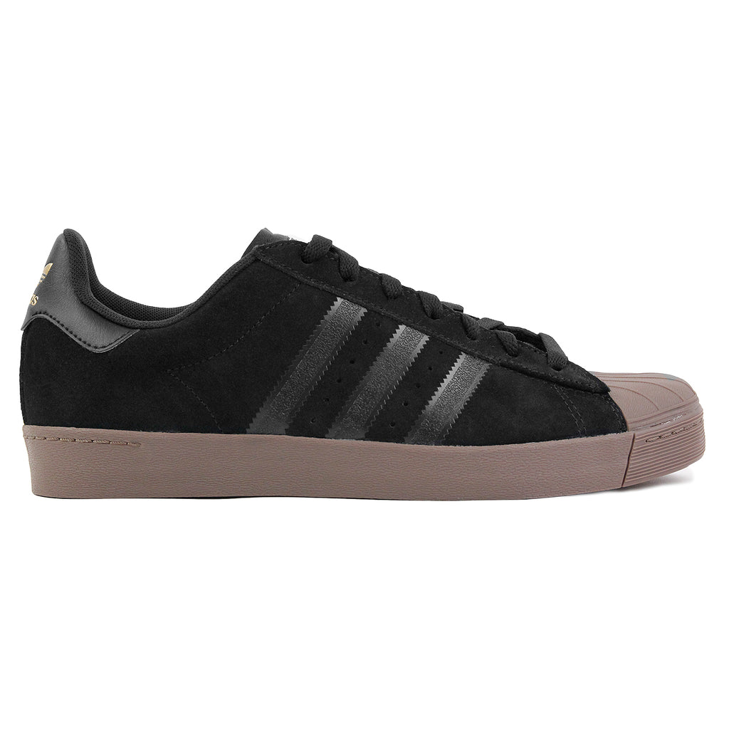 Adidas Skateboarding Superstar Vulc ADV Shoes in Black / Gold Metallic / Gum