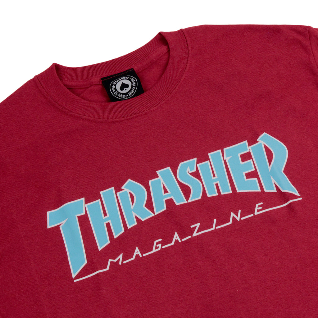 Thrasher Outlined Skate Mag Logo T Shirt in Cardinal - Detail