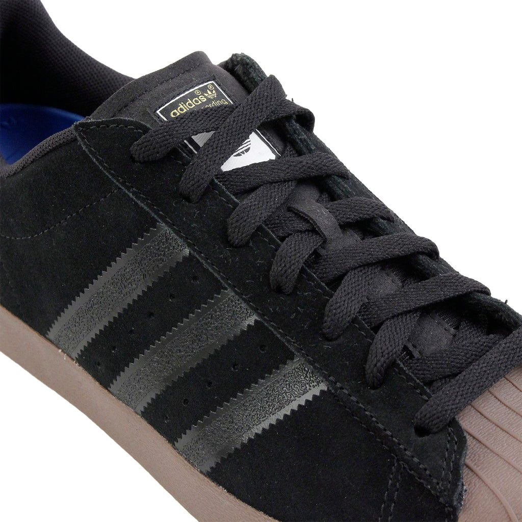 Adidas Skateboarding Superstar Vulc ADV Shoes in Black / Gold Metallic / Gum - Laces