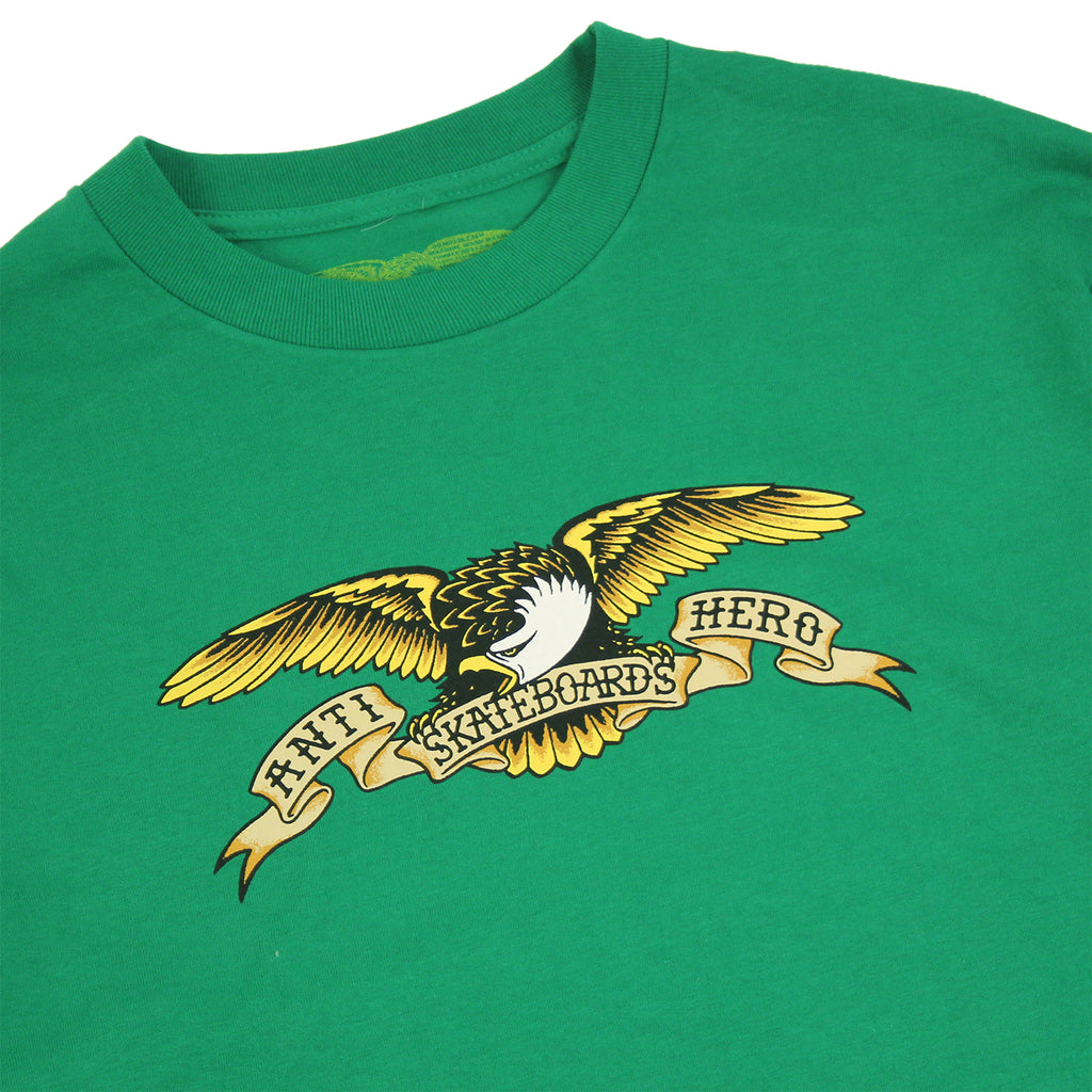 Anti Hero Skateboards Eagle L/S T Shirt in Kelly Green - Detail