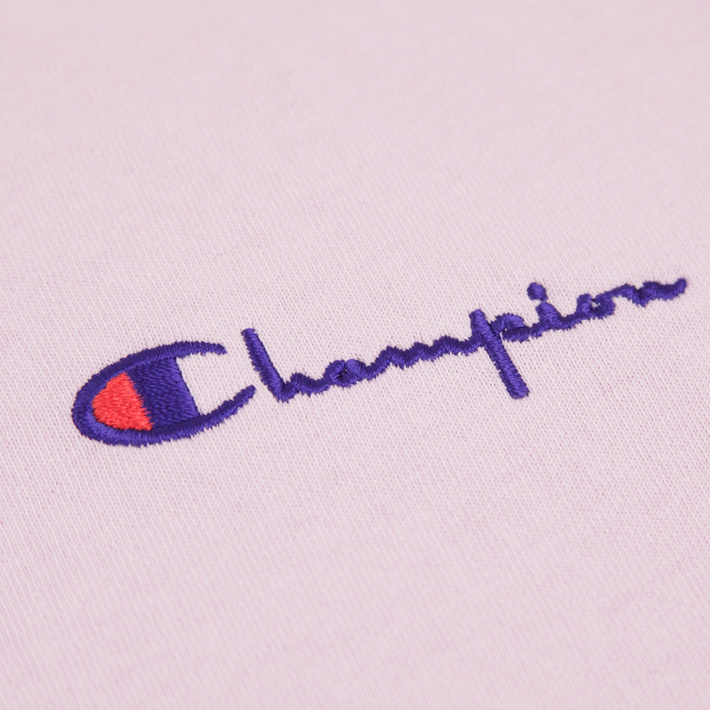 Champion Reverse Weave Small Script Logo T Shirt in Lavender - Embroidery