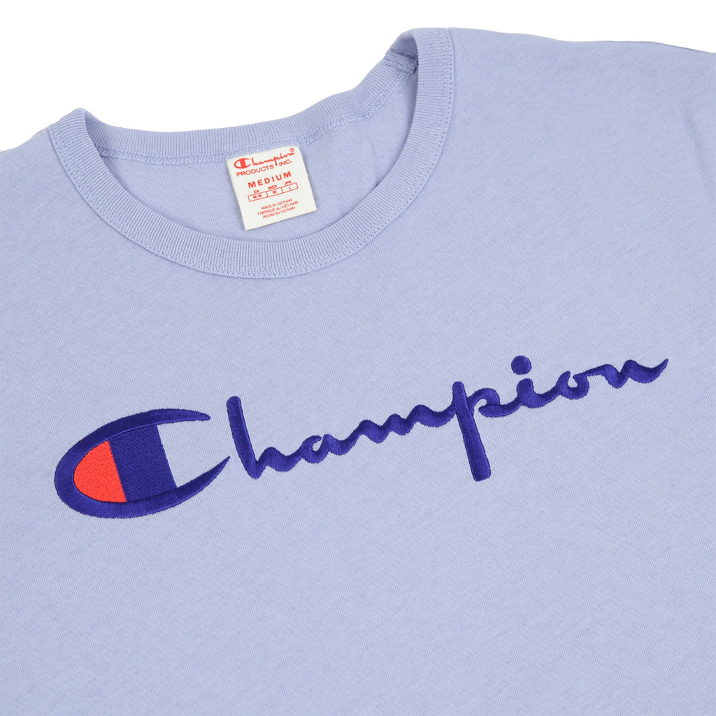 Champion Reverse Weave Script Logo T Shirt in Lilac - Detail