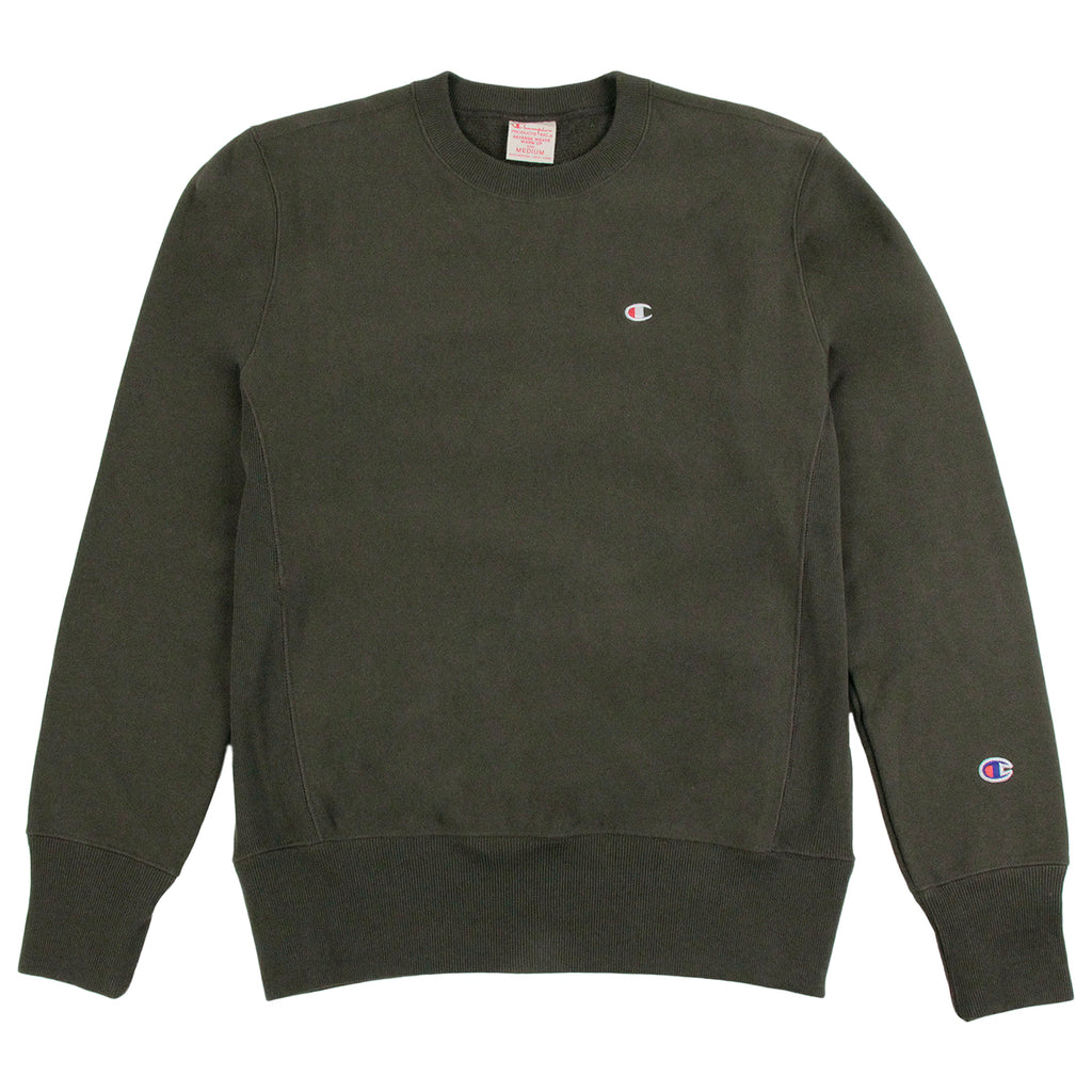 Champion Reverse Weave Crew Neck Sweatshirt in Olive