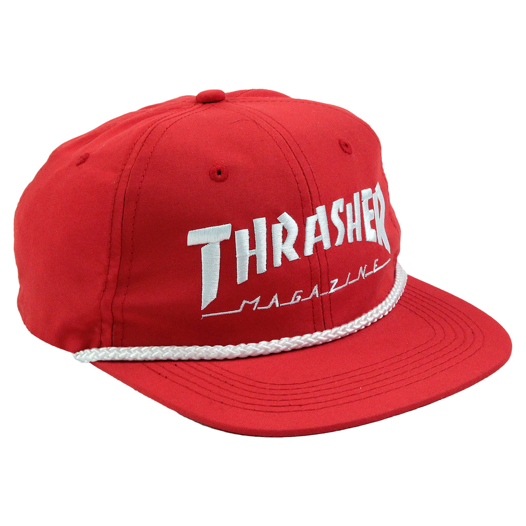 Thrasher Rope Snapback Cap in Red / White