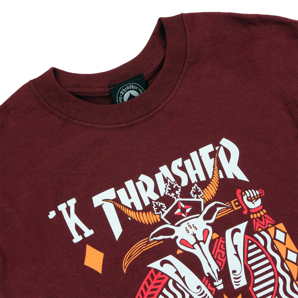 Thrasher King Of Diamonds T Shirt in Maroon - Detail