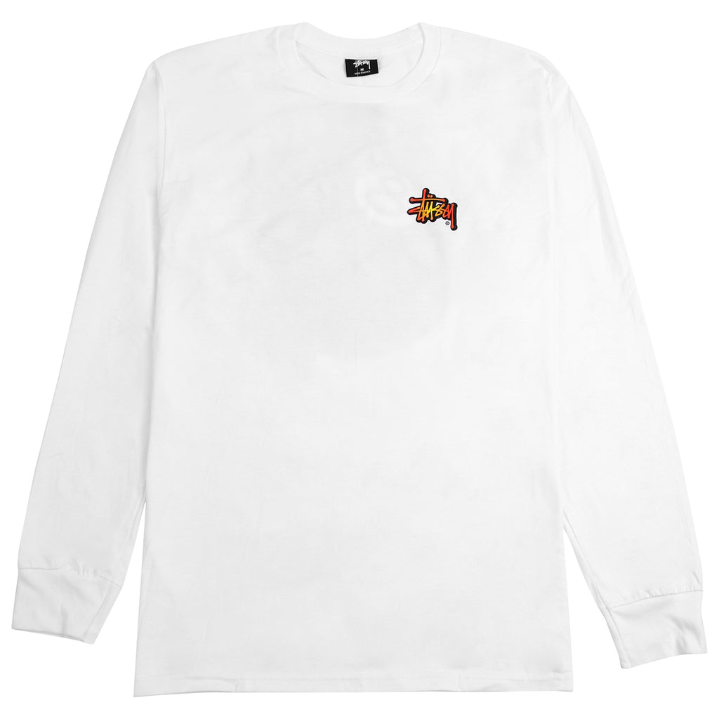 Stussy Fireball L/S T Shirt in White - Front