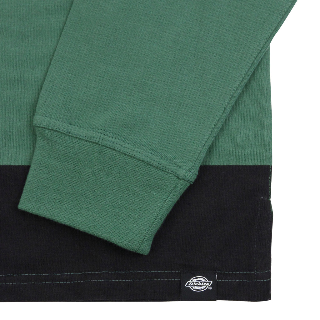 Dickies Cedar Key Rugby Shirt in Bottle Green / White - Cuff