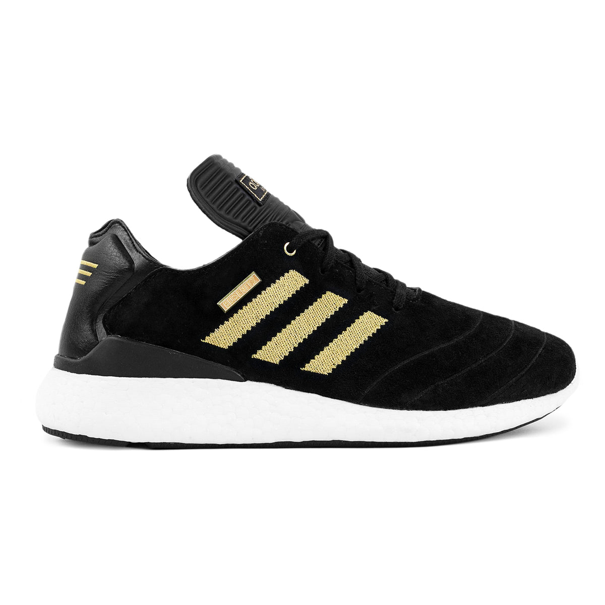 cheap for discount 499d6 24b33 Busenitz Pure Boost 10 Year Anniversary Shoe in Core Black   Gold Metallic    White by Adidas   Bored of Southsea