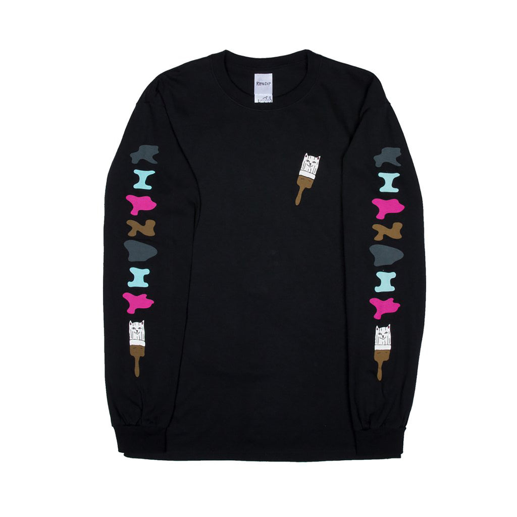 RIPNDIP L/S Beautiful Mountain T Shirt in Black - Front Sleeves