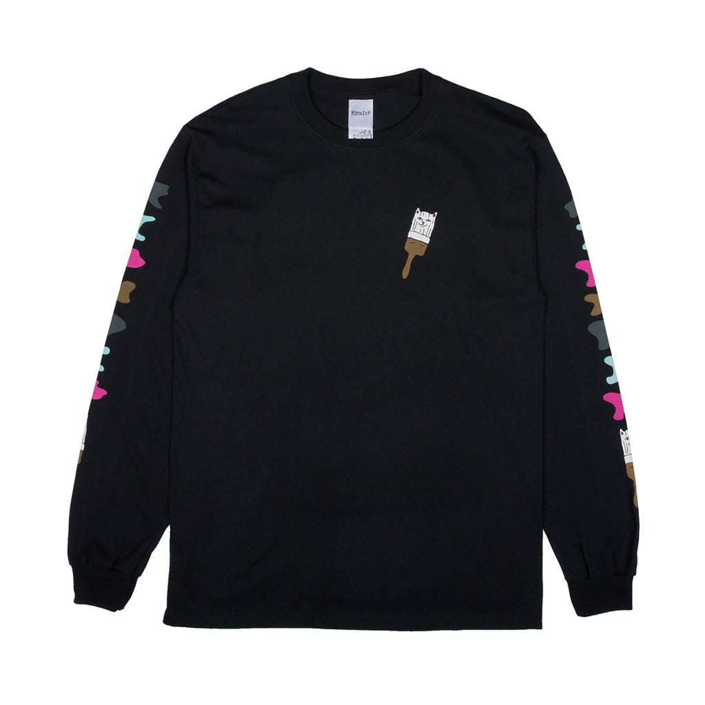 RIPNDIP L/S Beautiful Mountain T Shirt in Black - Front