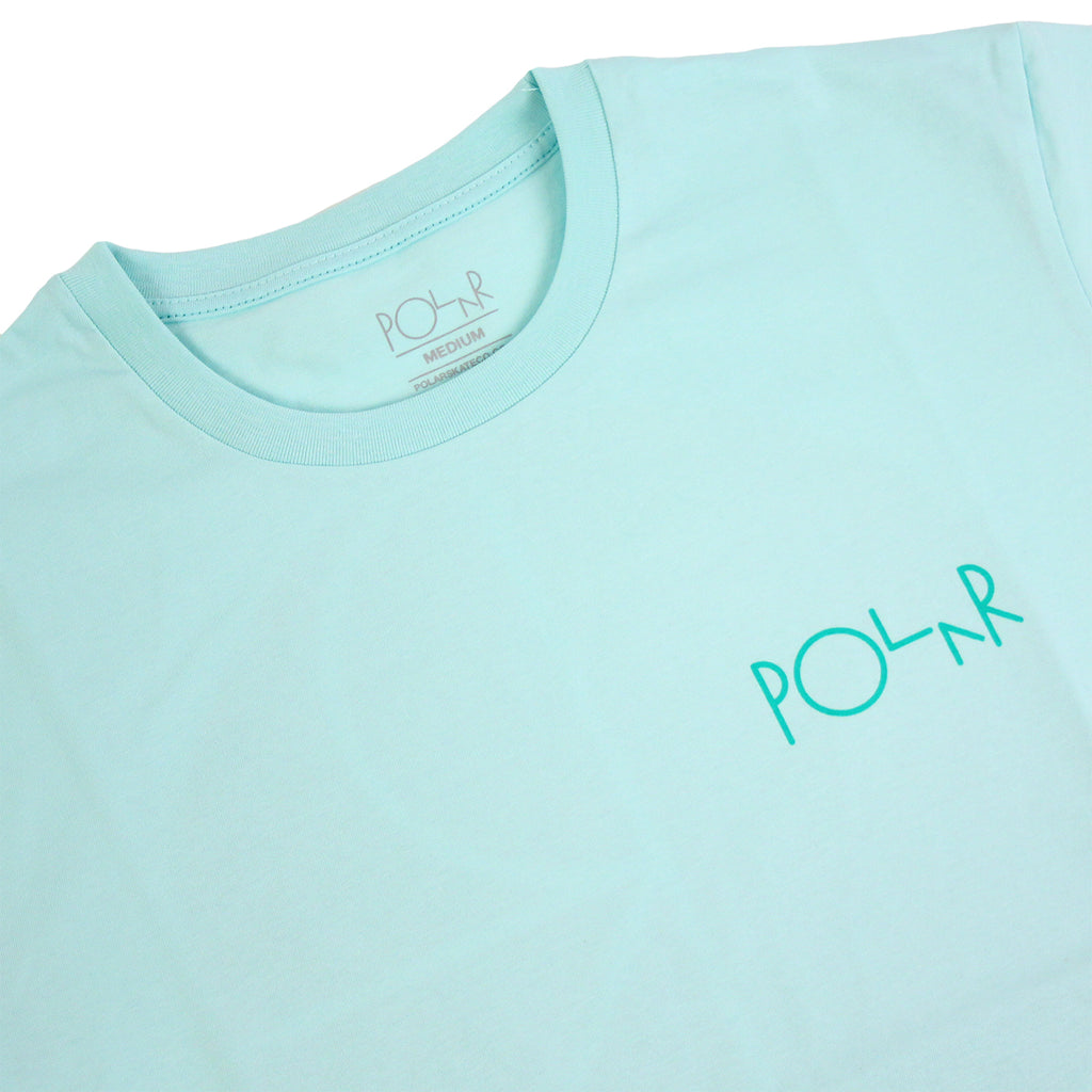 Polar Skate Co Fill Logo Behind The Curtain T Shirt in Pastel Mint / Green - Detail