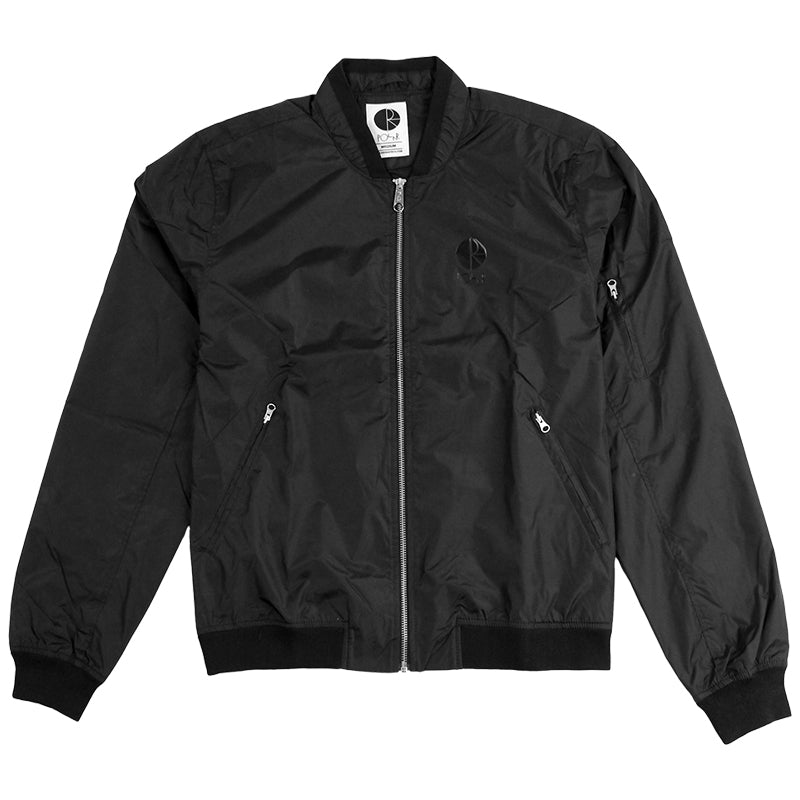 Polar Skate Co Fill Logo Chest Sporty Bomber in Black / Black