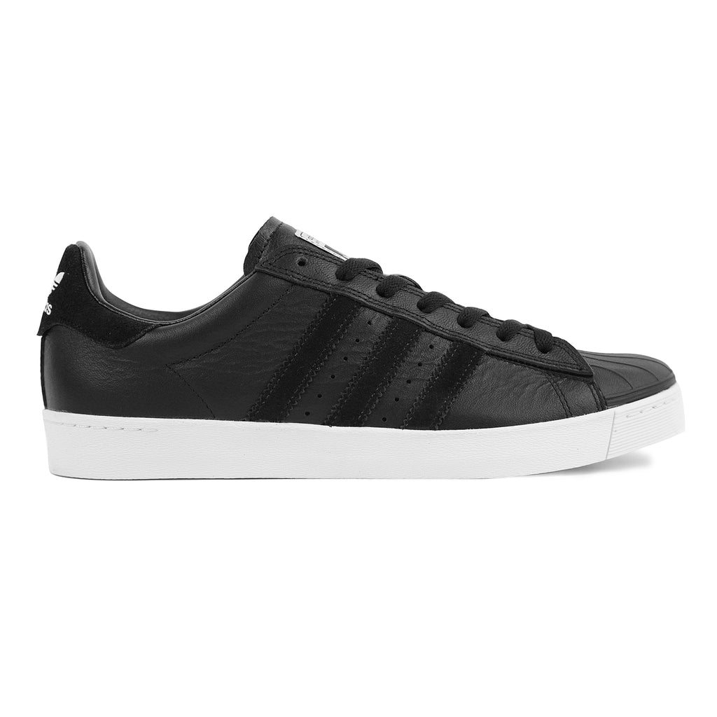 Adidas Skateboarding Superstar Vulc ADV Shoes in Core Black / Core Black / White