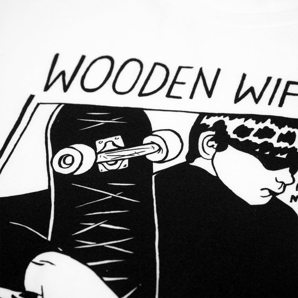 Wooden Wife Skateboards Sonic T Shirt - White - Print close up