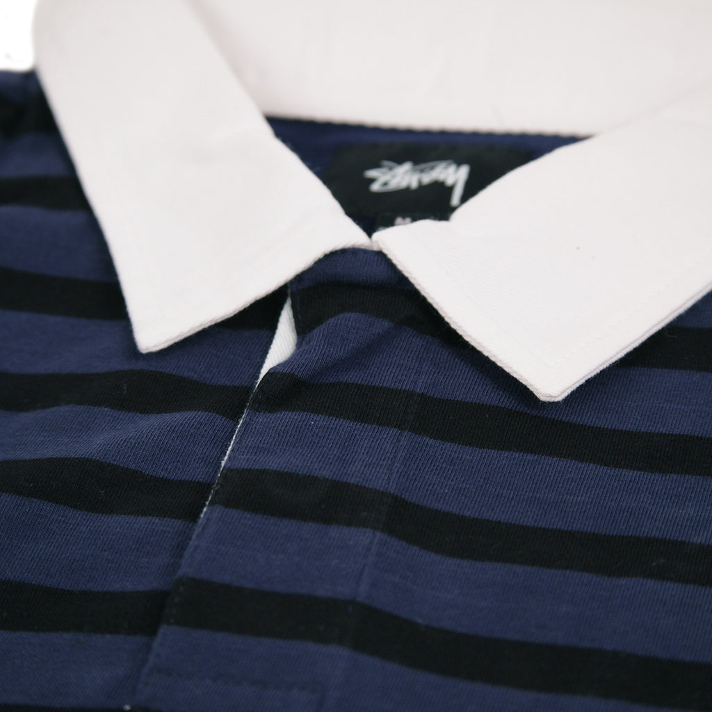 Stussy L/S Jonah Stripe Rugby in Navy - Collar