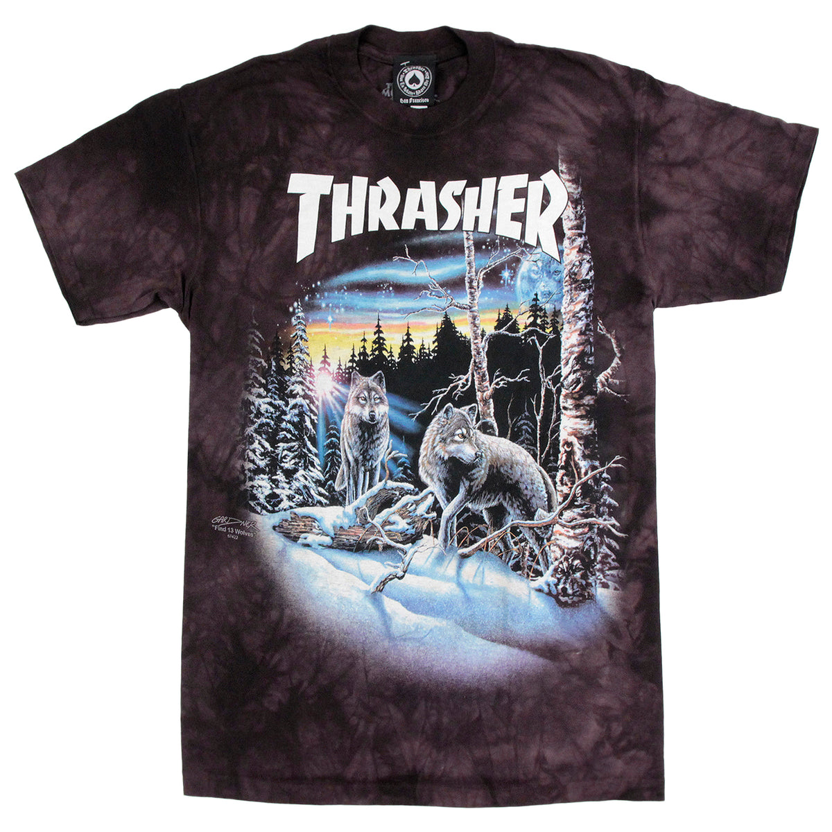 e5a34f97ea5201 13 Wolves T Shirt in Black Tie Dye by Thrasher | Bored of Southsea