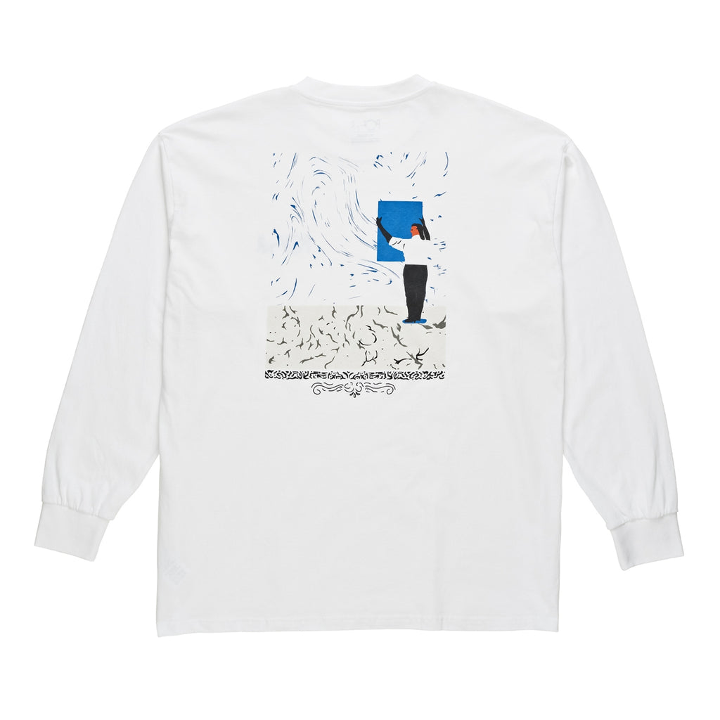 Polar Skate Co Hanging Painting L/S T Shirt in White - Back