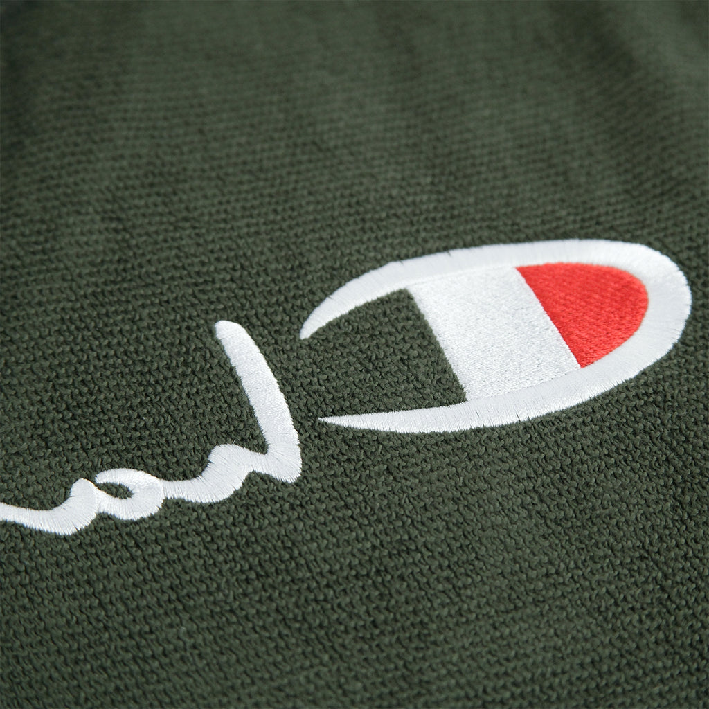 Champion Reverse Weave Reversed Crew Sweatshirt in Dark Olive - Embroidery