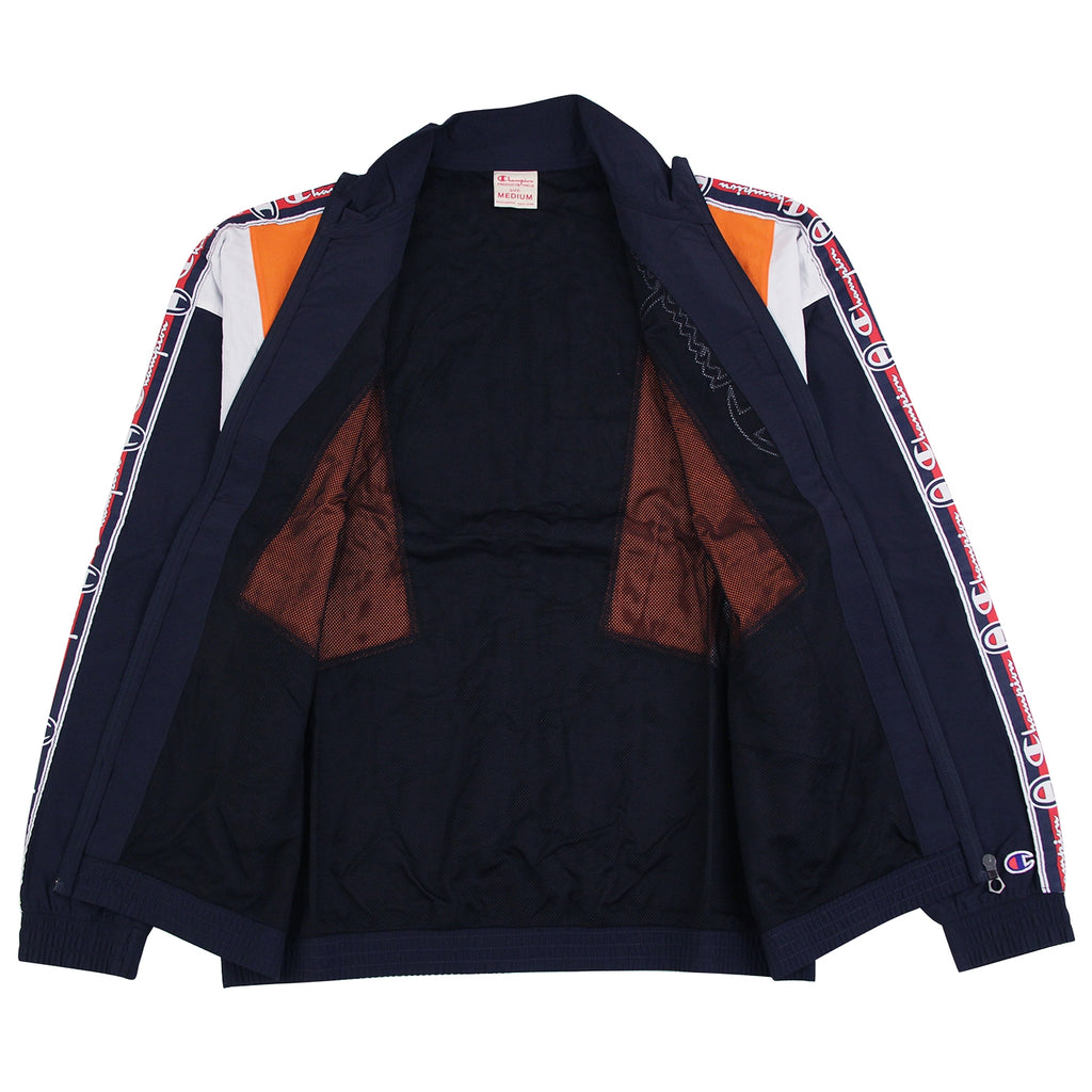 Champion Reverse Weave Taped Track Jacket in Navy / Bright Orange / White - Open