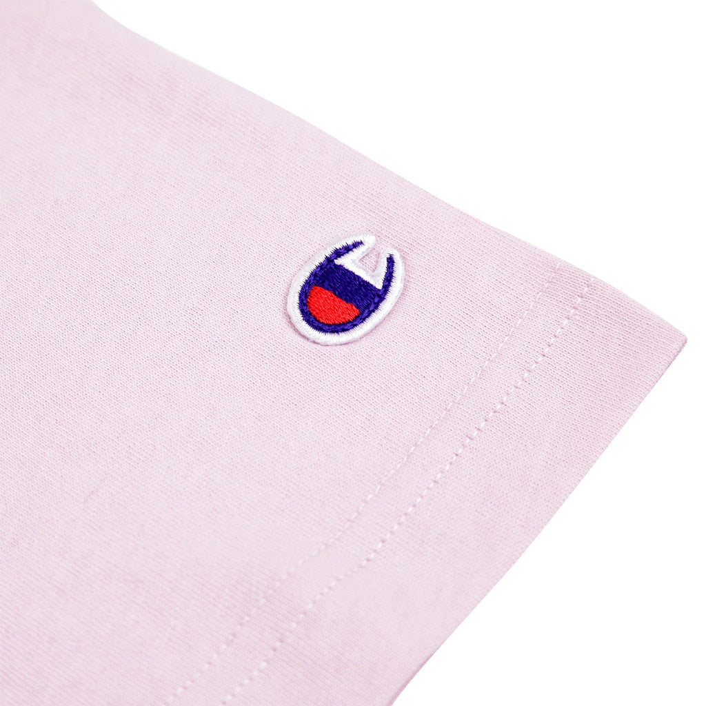 Champion Reverse Weave Small Script Logo T Shirt in Lavender - Patch
