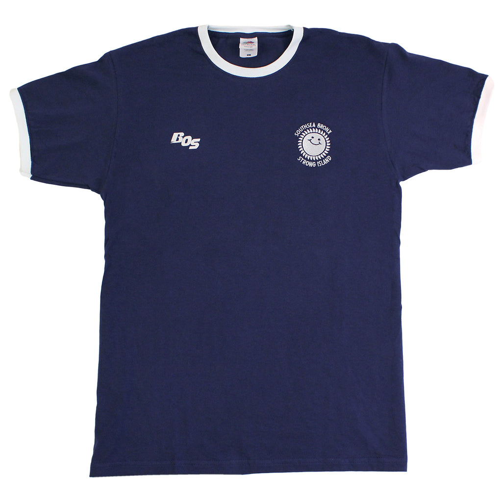 Southsea Bronx Strong Island Football T Shirt in Navy / White