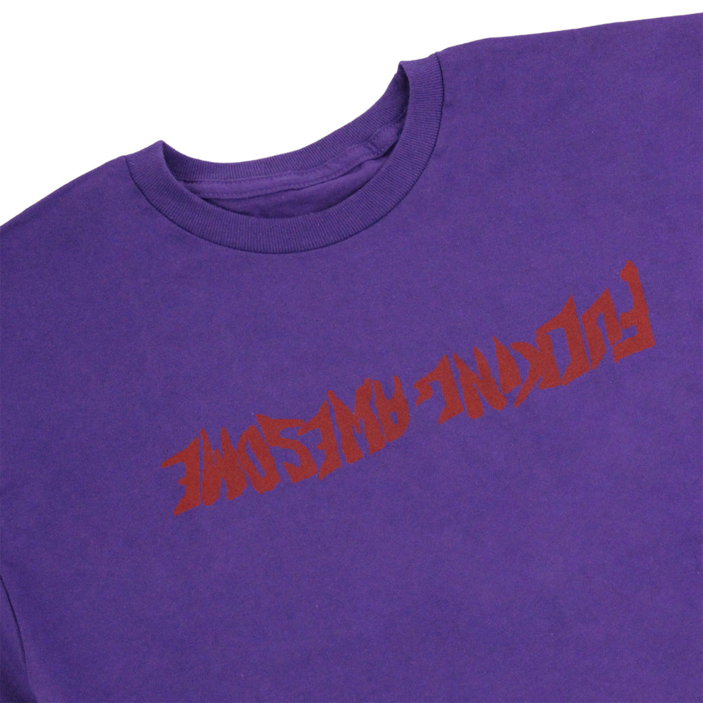 Fucking Awesome Inverted Logo T Shirt in Purple - Detail