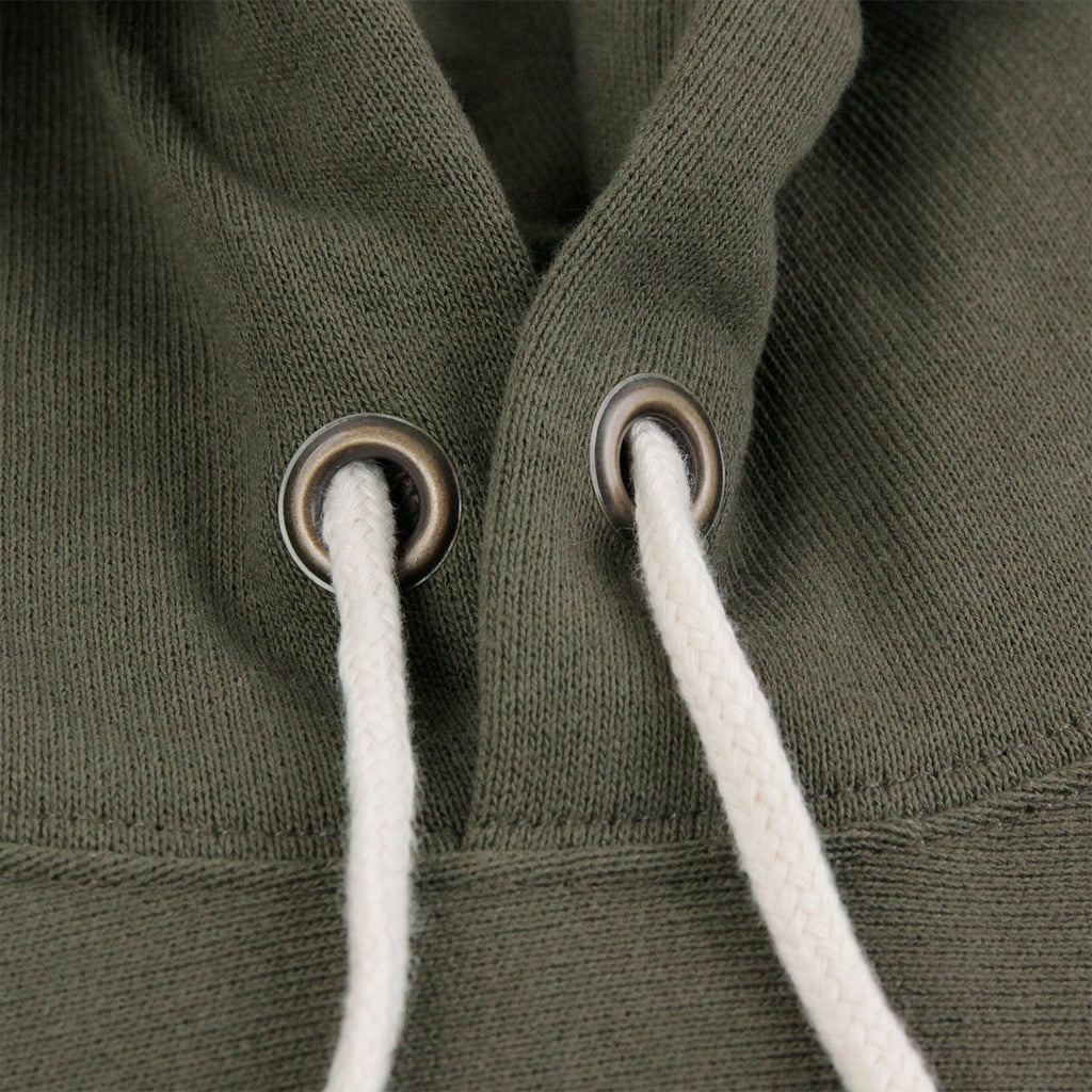 Champion Hooded Sweatshirt in Olive - Drawstrings