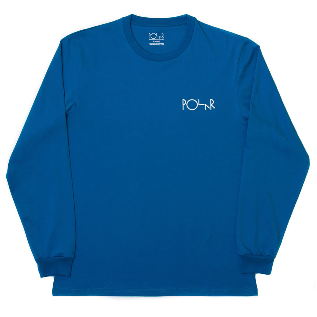 Polar Skate Co Fill Logo Behind The Curtains L/S T Shirt in Obsidian Blue / White - Front