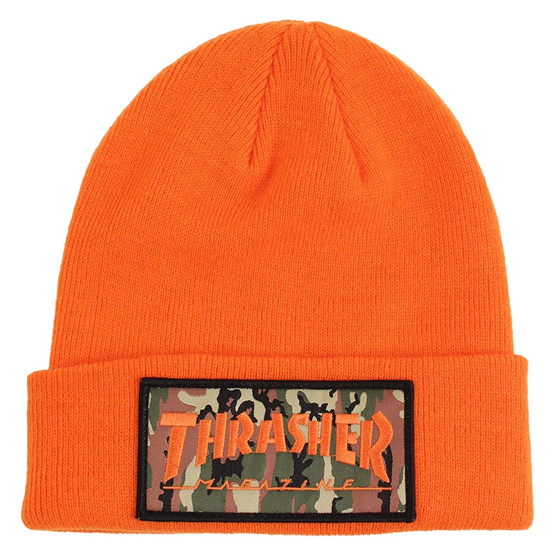 Thrasher Patch Beanie in Orange / Camo
