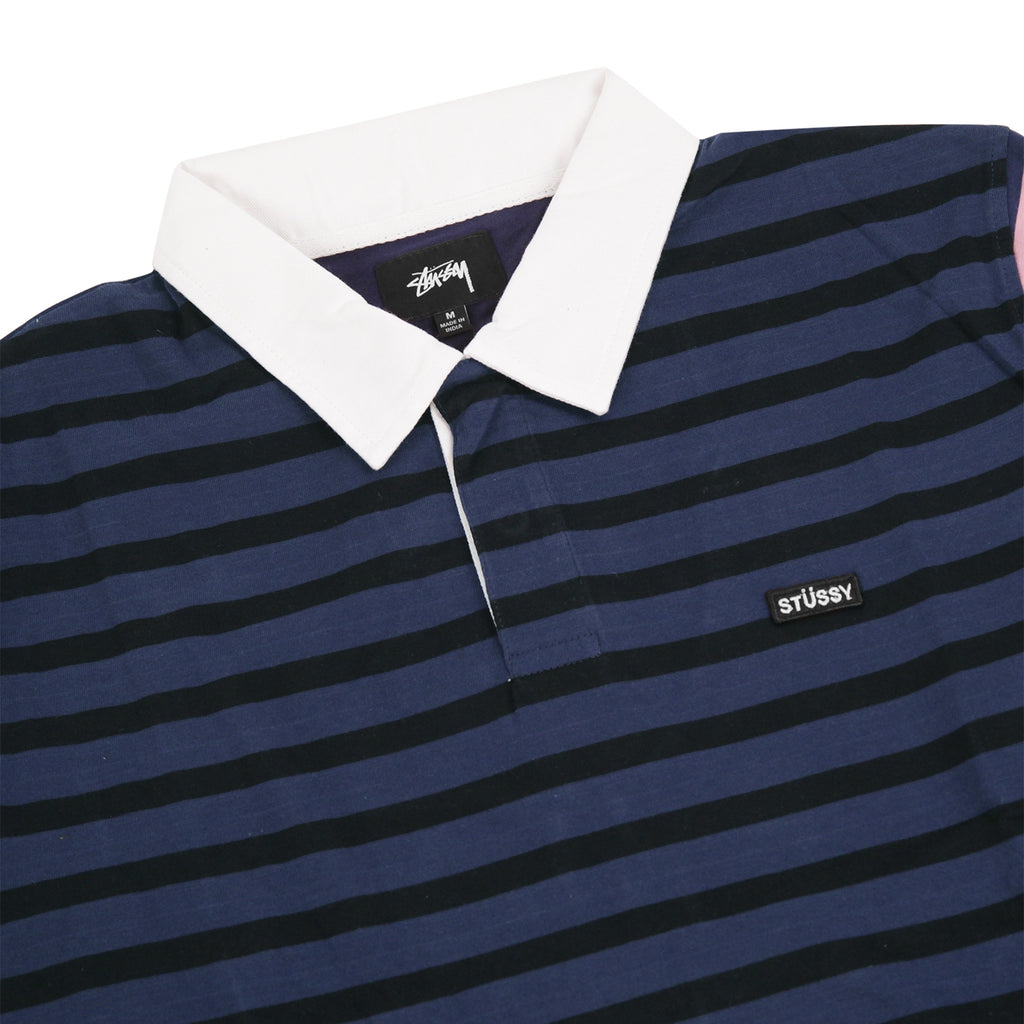 Stussy L/S Jonah Stripe Rugby in Navy - Detail