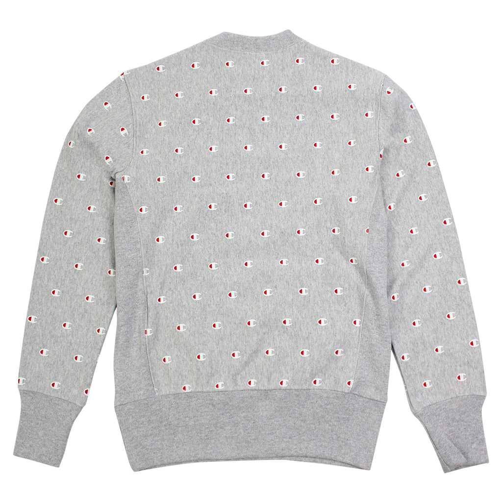 Champion All Over Crew Sweatshirt in Oxford Grey - Back
