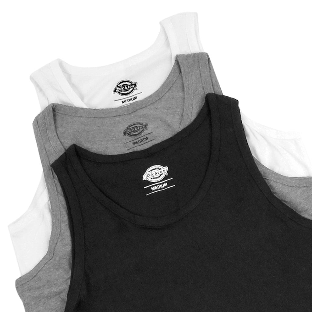 Dickes 3 Pack Vests in White / Heather Grey / Black - Detail