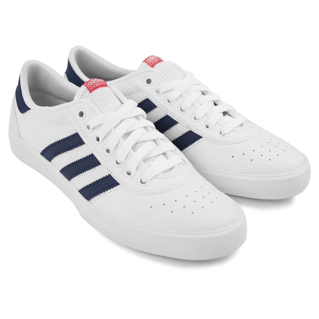 Adidas Lucas Premiere ADV Shoes in White   Collegiate Navy   Scarlet - Pair 37439ab0a