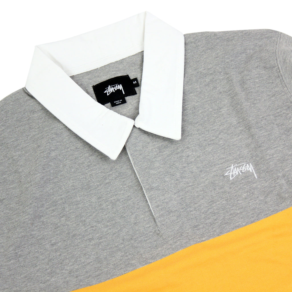 Stussy 3 Tone Polo in Heather Grey - Detail