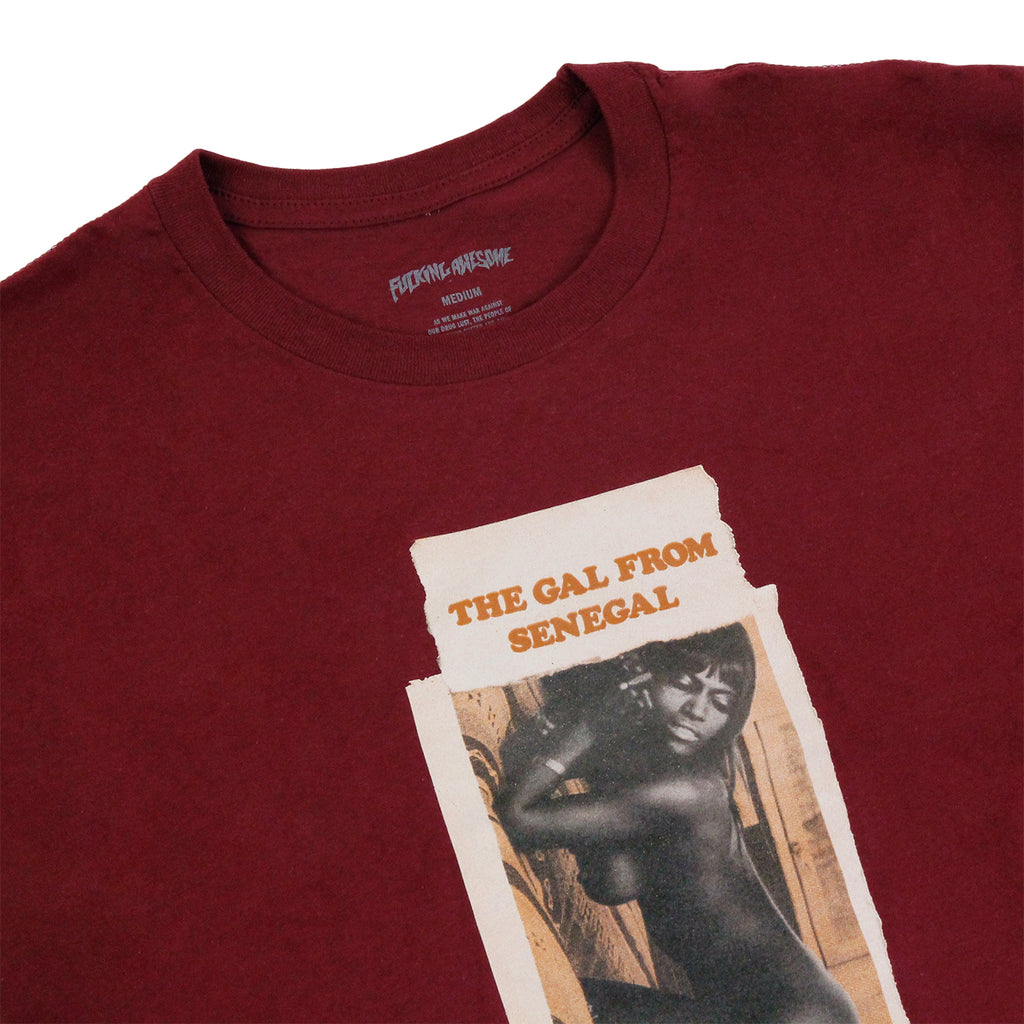Fucking Awesome Senegal T Shirt in Maroon - Detail