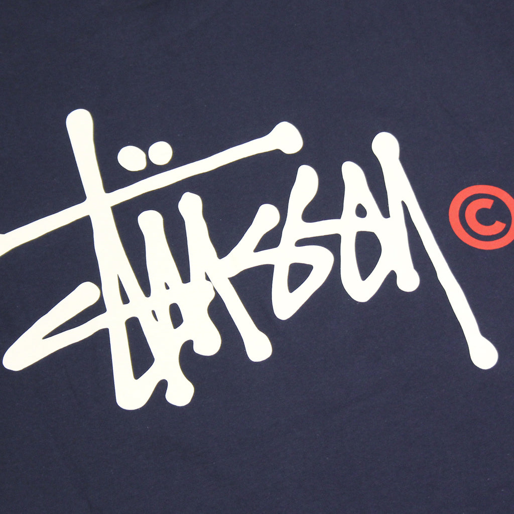 Stussy Basic Logo T Shirt in Navy - Print