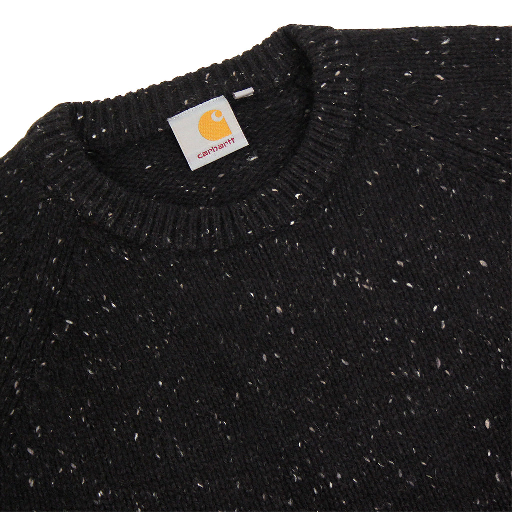 Carhartt Anglistic Sweater in Black Heather - Detail