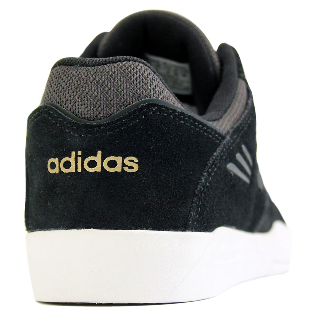Adidas Skateboarding Tribute ADV Shoes in Core Black/Solid Grey/White - Heel